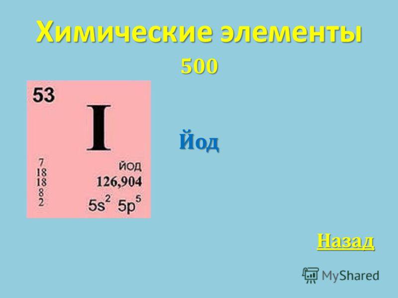 Химические элементы 500Йод Назад
