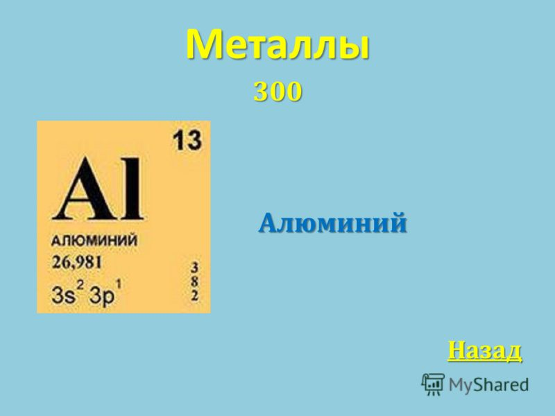 Металлы 300Алюминий Назад