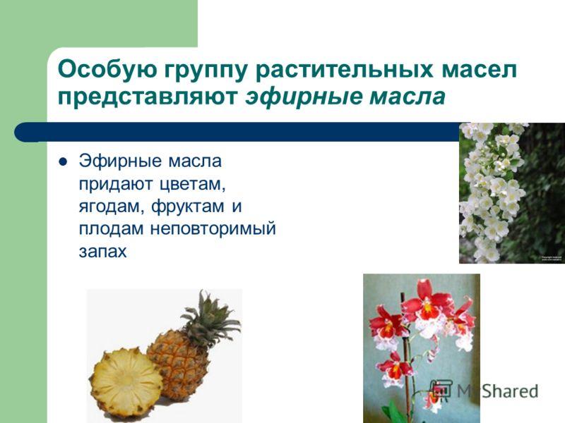Особую группу растительных масел представляют эфирные масла Эфирные масла придают цветам, ягодам, фруктам и плодам неповторимый запах