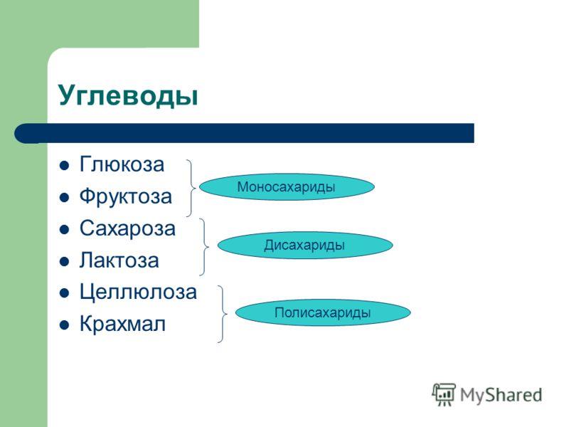 Углеводы Глюкоза Фруктоза Сахароза Лактоза Целлюлоза Крахмал Моносахариды Дисахариды Полисахариды