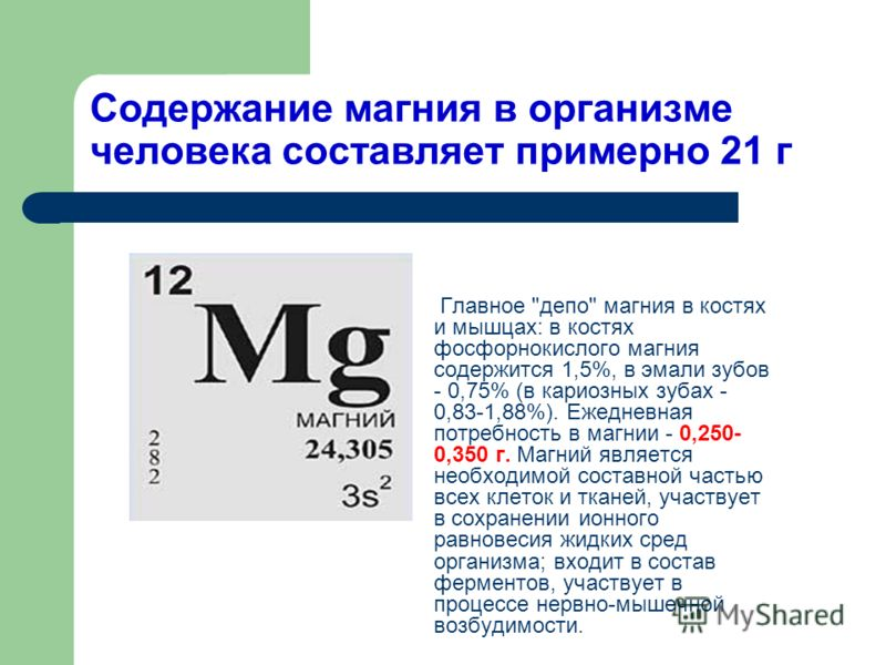 Содержание магния в организме человека составляет примерно 21 г Главное