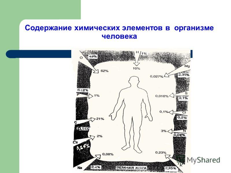 Содержание химических элементов в организме человека