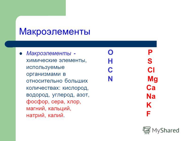 Макроэлементы Макроэлементы - химические элементы, используемые организмами в относительно больших количествах: кислород, водород, углерод, азот, фосфор, сера, хлор, магний, кальций, натрий, калий. O P H S C Cl N Mg Ca Na K F