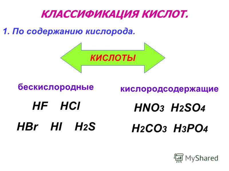 КЛАССИФИКАЦИЯ КИСЛОТ. бескислородные HF HCl HBr HI H 2 S 1. По содержанию кислорода. кислородсодержащие HNO 3 H 2 SO 4 H 2 CO 3 H 3 PO 4 КИСЛОТЫ