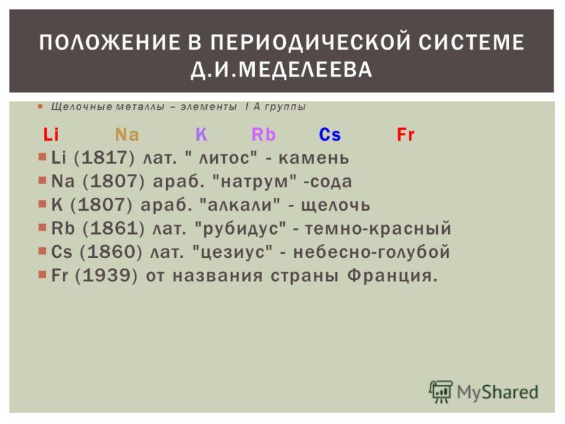Щелочные металлы – элементы I А группы Li Na K Rb Cs Fr Li (1817) лат.
