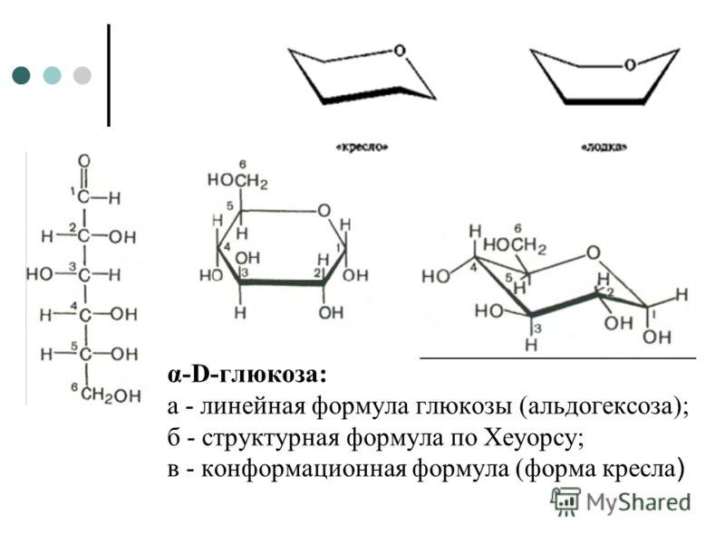 α-D-глюкоза: а - линейная формула глюкозы (альдогексоза); б - структурная формула по Хеуорсу; в - конформационная формула (форма кресла )