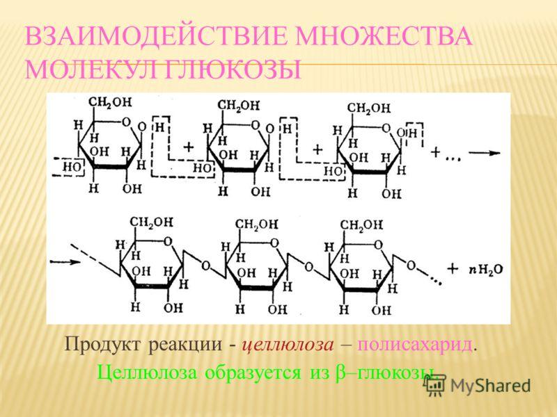 ВЗАИМОДЕЙСТВИЕ МНОЖЕСТВА МОЛЕКУЛ ГЛЮКОЗЫ Продукт реакции - крахмал – полисахарид. Крахмал образуется из α-глюкозы.