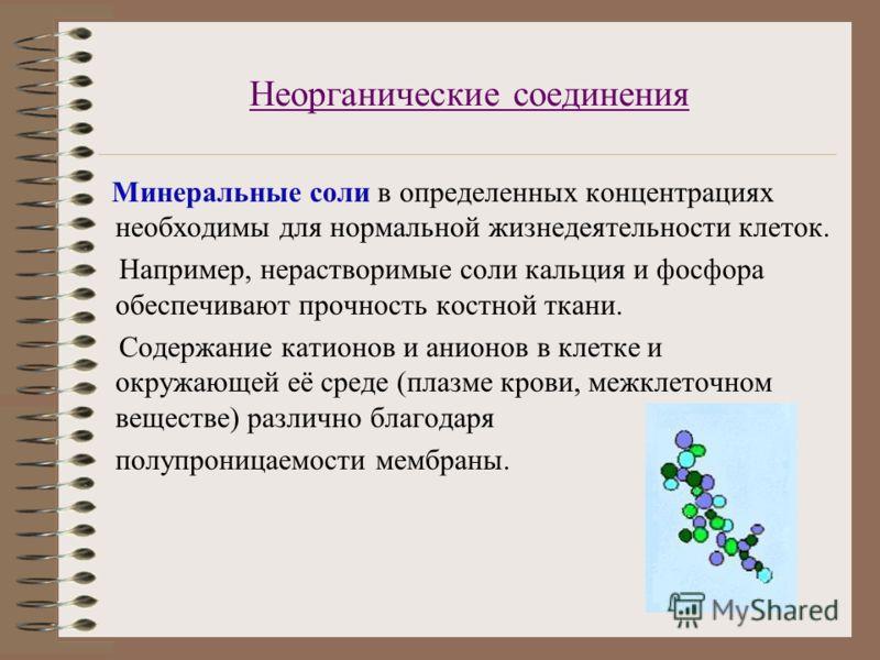 Неорганические соединения Минеральные соли в определенных концентрациях необходимы для нормальной жизнедеятельности клеток. Например, нерастворимые соли кальция и фосфора обеспечивают прочность костной ткани. Содержание катионов и анионов в клетке и