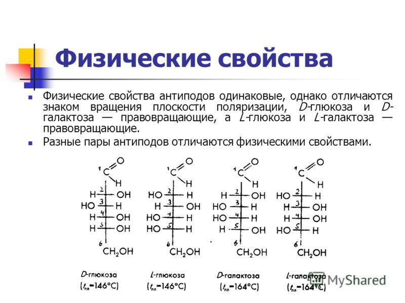 Физические свойства Физические свойства антиподов одинаковые, однако отличаются знаком вращения плоскости поляризации, D-глюкоза и D- галактоза правовращающие, а L-глюкоза и L-галактоза правовращающие. Разные пары антиподов отличаются физическими сво