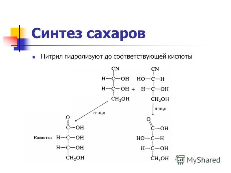 Синтез сахаров Нитрил гидролизуют до соответствующей кислоты