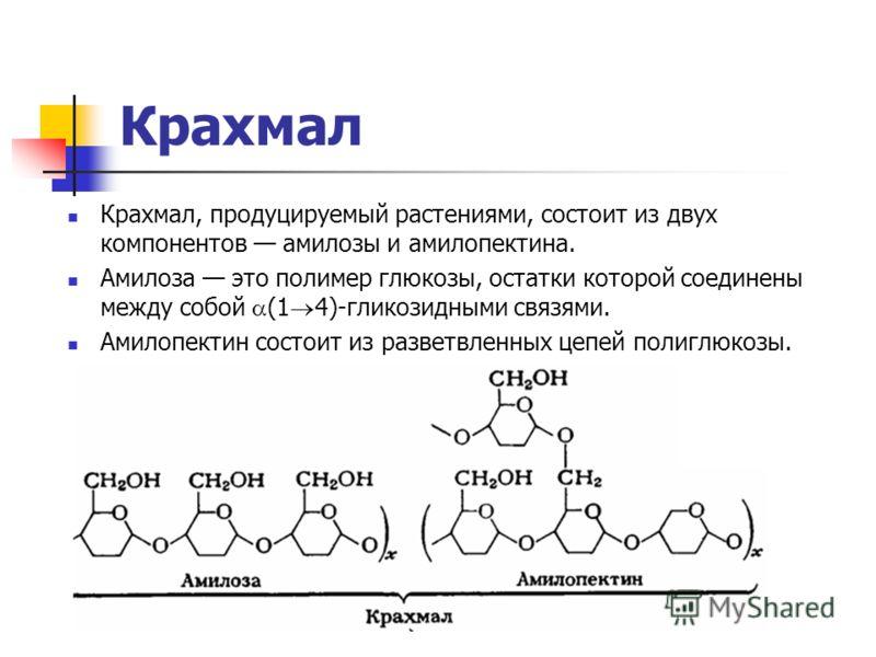 Крахмал Крахмал, продуцируемый растениями, состоит из двух компонентов амилозы и амилопектина. Амилоза это полимер глюкозы, остатки которой соединены между собой (1 4)-гликозидными связями. Амилопектин состоит из разветвленных цепей полиглюкозы.