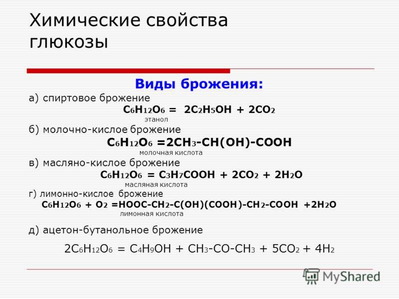 Химические свойства глюкозы Виды брожения: а) спиртовое брожение C 6 H 12 O 6 = 2C 2 H 5 OH + 2CO 2 этанол б) молочно-кислое брожение C 6 H 12 O 6 =2CH 3 -CH(OH)-COOH молочная кислота в) масляно-кислое брожение C 6 H 12 O 6 = C 3 H 7 COOH + 2CO 2 + 2