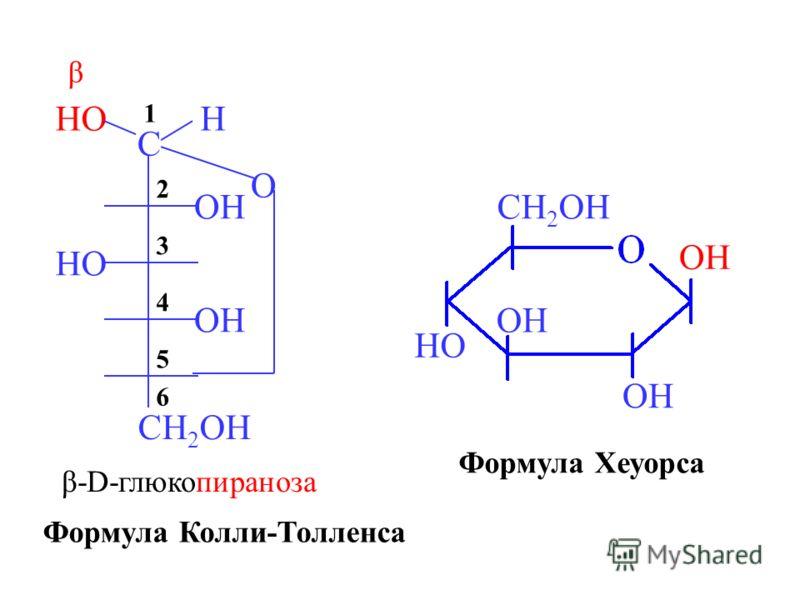 O HO C H CH 2 OH HO OH 6 5 4 3 2 1 β β-D-глюкопираноза OH HO CH 2 OH Формула Колли-Толленса Формула Хеуорса