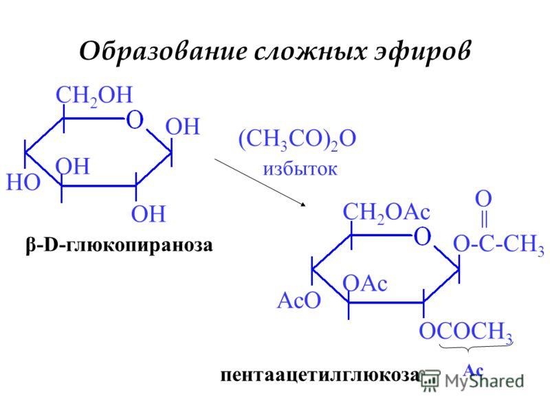 Образование сложных эфиров OH HO CH 2 OH (CH 3 CO) 2 O избыток O-C-CH 3 OCOCH 3 OAc AcO CH 2 OAc O Ac β-D-глюкопираноза пентаацетилглюкоза