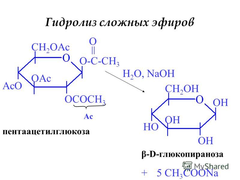 Гидролиз сложных эфиров O-C-CH 3 OCOCH 3 OAc AcO CH 2 OAc O Ac H 2 O, NaOH OH HO CH 2 OH +5 CH 3 COONa пентаацетилглюкоза β-D-глюкопираноза