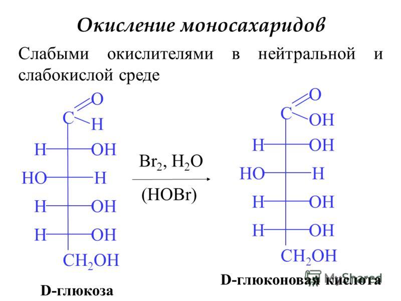 Окисление моносахаридов Слабыми окислителями в нейтральной и слабокислой среде C O H H H H H CH 2 OH HO OH D-глюкоза Br 2, H 2 O (HOBr) C O OH H H H H CH 2 OH HO OH D-глюконовая кислота