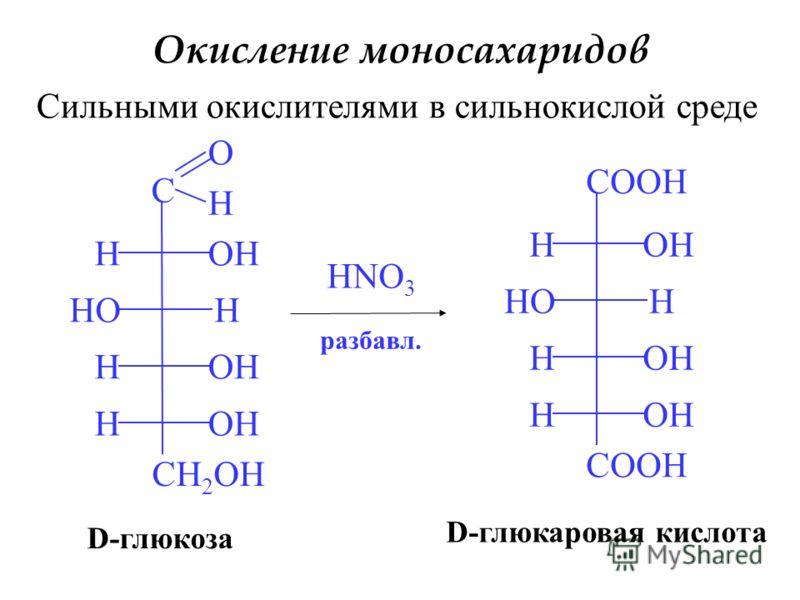 Окисление моносахаридов Сильными окислителями в сильнокислой среде C O H H H H H CH 2 OH HO OH HNO 3 COOH H H H H HO OH D-глюкаровая кислота D-глюкоза разбавл.