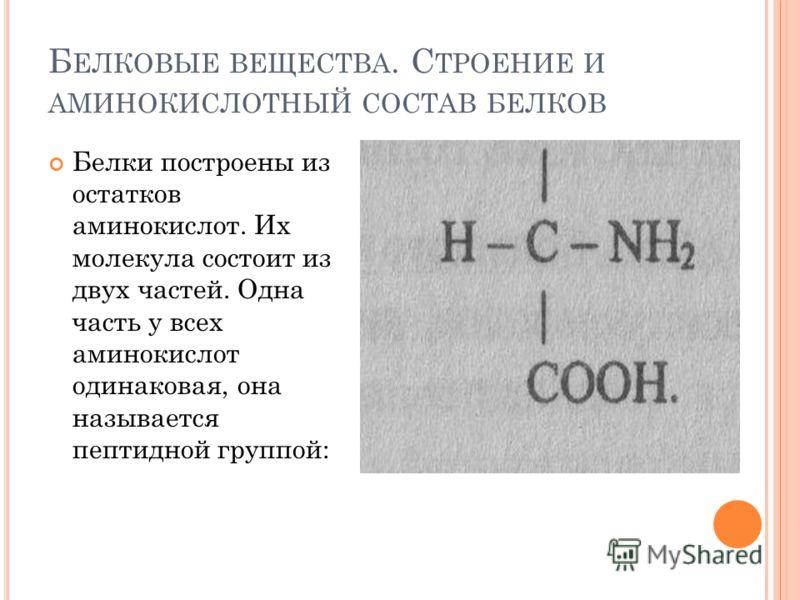 Б ЕЛКОВЫЕ ВЕЩЕСТВА. С ТРОЕНИЕ И АМИНОКИСЛОТНЫЙ СОСТАВ БЕЛКОВ Белки построены из остатков аминокислот. Их молекула состоит из двух частей. Одна часть у всех аминокислот одинаковая, она называется пептидной группой: