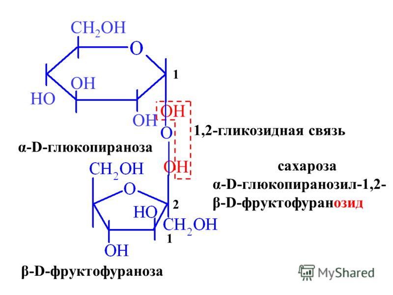 OH HO CH 2 OH 1 OH α-D-глюкопираноза β-D-фруктофураноза 1 2 O 1,2-гликозидная связь сахароза α-D-глюкопиранозил-1,2- β-D-фруктофуранозид