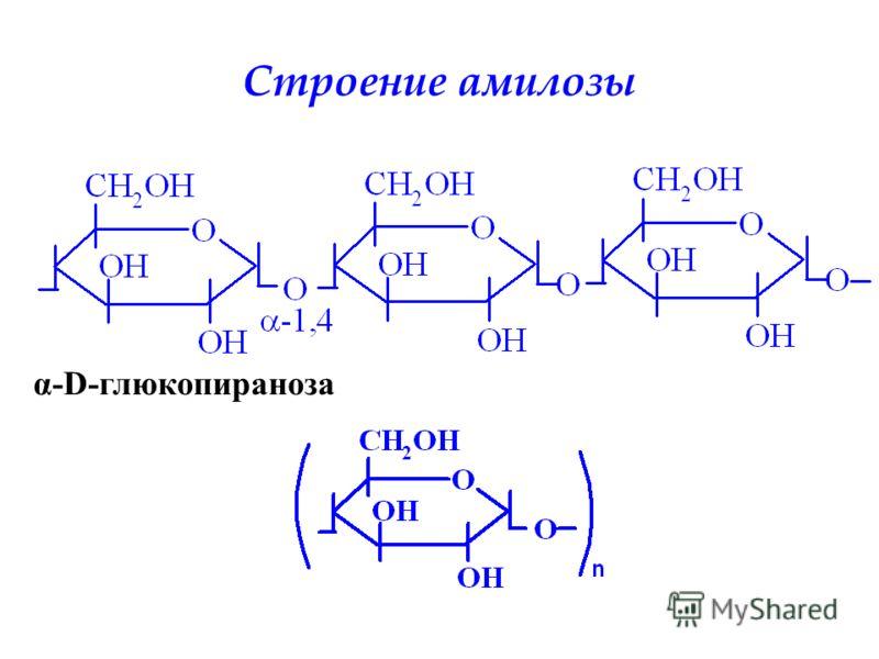 Строение амилозы α-D-глюкопираноза