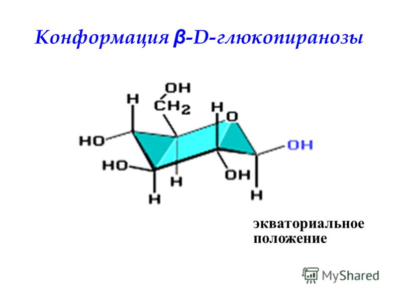 Конформация β -D-глюкопиранозы экваториальное положение