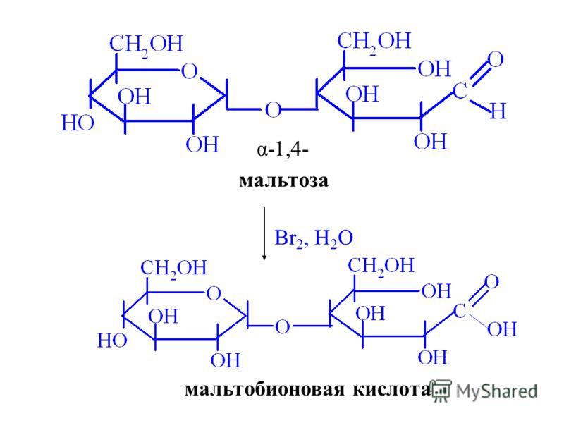 α-1,4- Br 2, H 2 O мальтобионовая кислота мальтоза