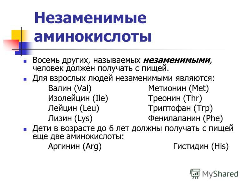 Незаменимые аминокислоты Восемь других, называемых незаменимыми, человек должен получать с пищей. Для взрослых людей незаменимыми являются: Валин (Val) Метионин (Met) Изолейцин (Ilе) Треонин (Thr) Лейцин (Leu)Триптофан (Тгр) Лизин (Lys)Фенилаланин (P