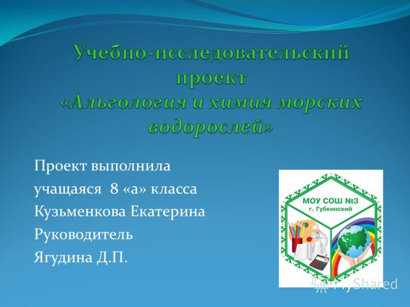 Проект выполнила учащаяся 8 «а» класса Кузьменкова Екатерина Руководитель Ягудина Д.П.