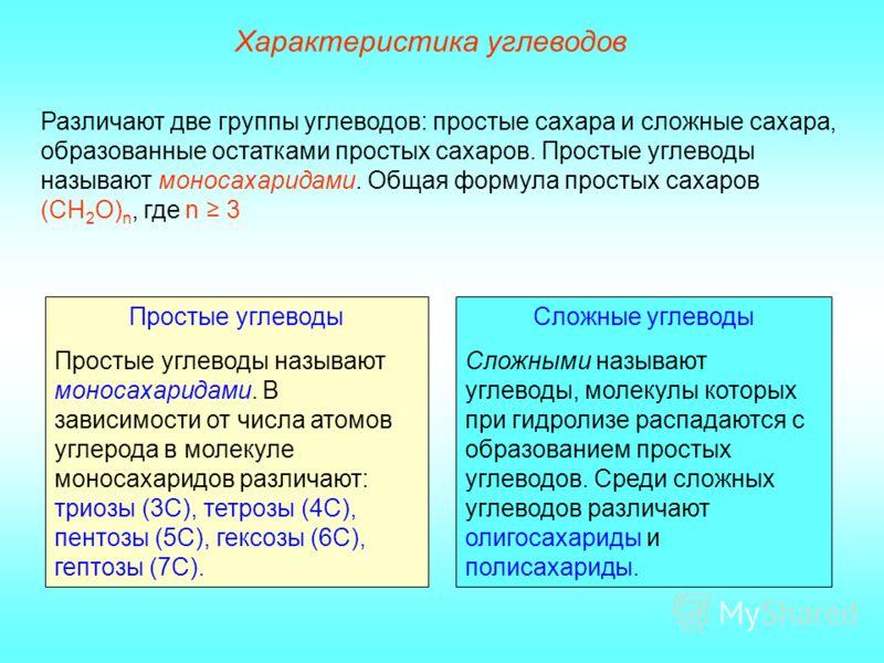 Простые углеводы Простые углеводы называют моносахаридами. В зависимости от числа атомов углерода в молекуле моносахаридов различают: триозы (3С), тетрозы (4С), пентозы (5С), гексозы (6С), гептозы (7С). Сложные углеводы Сложными называют углеводы, мо