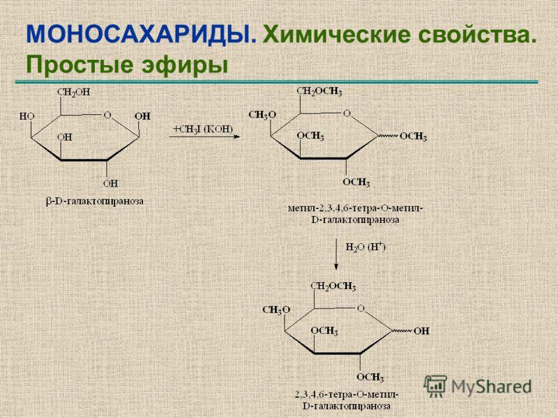 МОНОСАХАРИДЫ. Химические свойства. Простые эфиры