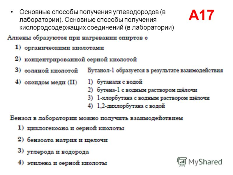 А17 Основные способы получения углеводородов (в лаборатории). Основные способы получения кислородсодержащих соединений (в лаборатории)