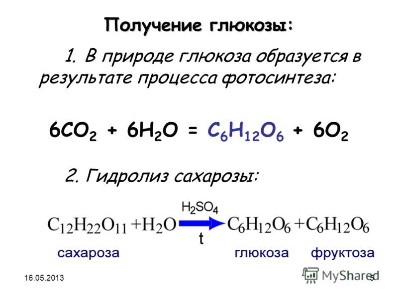16.05.20135 Получение глюкозы: 1. В природе глюкоза образуется в результате процесса фотосинтеза: 6CO 2 + 6H 2 O = C 6 H 12 O 6 + 6O 2 2. Гидролиз сахарозы: