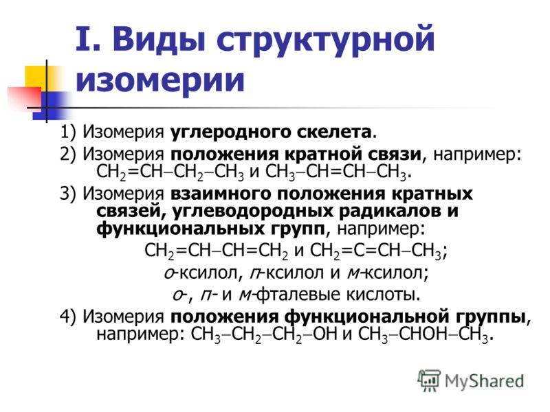 I. Виды структурной изомерии 1) Изомерия углеродного скелета. 2) Изомерия положения кратной связи, например: СН 2 =СН СН 2 СН 3 и СН 3 СН=СН СН 3. 3) Изомерия взаимного положения кратных связей, углеводородных радикалов и функциональных групп, наприм