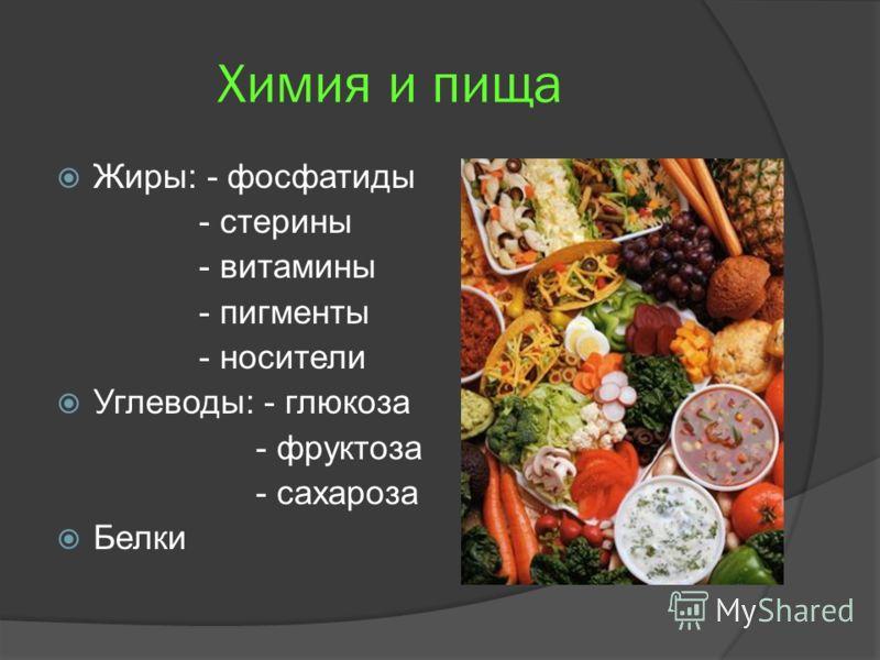 Химия и пища Жиры: - фосфатиды - стерины - витамины - пигменты - носители Углеводы: - глюкоза - фруктоза - сахароза Белки