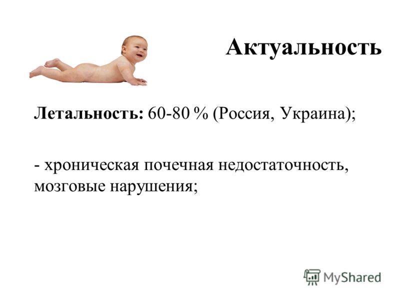 Актуальность Летальность: 60-80 % (Россия, Украина); - хроническая почечная недостаточность, мозговые нарушения;