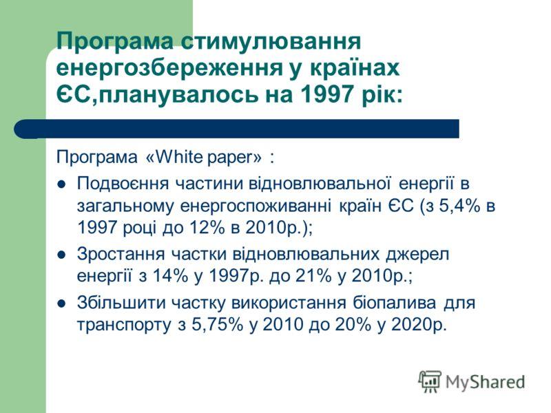 Програма стимулювання енергозбереження у країнах ЄС,планувалось на 1997 рік: Програма «White paper» : Подвоєння частини відновлювальної енергії в загальному енергоспоживанні країн ЄС (з 5,4% в 1997 році до 12% в 2010р.); Зростання частки відновлюваль