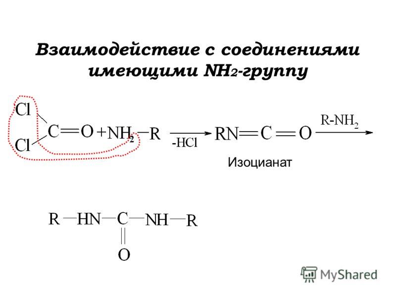 Взаимодействие с соединениями имеющими NH 2 -группу Изоцианат 2
