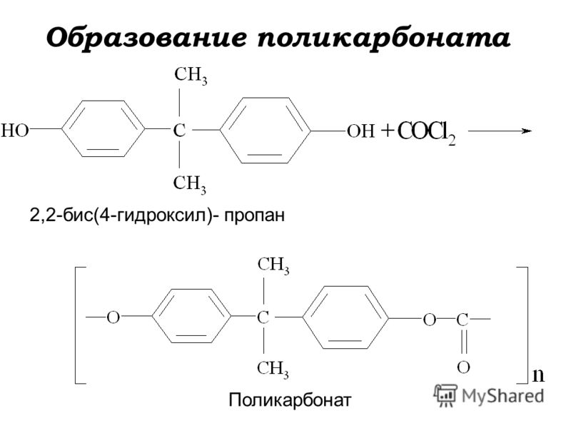 Образование поликарбоната 2,2-бис(4-гидроксил)- пропан Поликарбонат