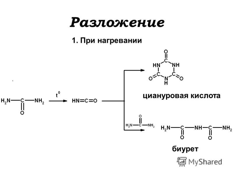 Разложение 1. При нагревании циануровая кислота биурет