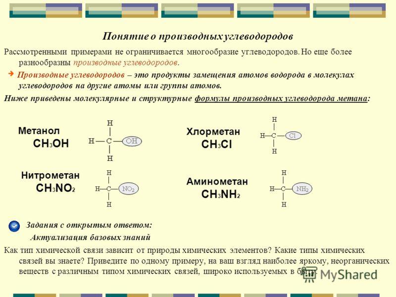 Понятие о производных углеводородов Рассмотренными примерами не ограничивается многообразие углеводородов. Но еще более разнообразны производные углеводородов. Производные углеводородов – это продукты замещения атомов водорода в молекулах углеводород