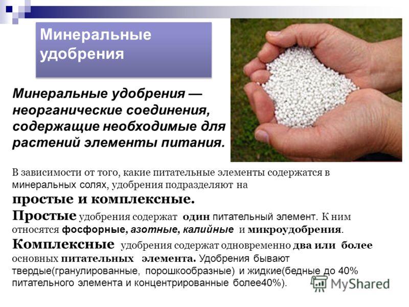 Минеральные удобрения В зависимости от того, какие питательные элементы содержатся в минеральных солях, удобрения подразделяют на простые и комплексные. Простые удобрения содержат один питательный элемент. К ним относятся фосфорные, азотные, калийные
