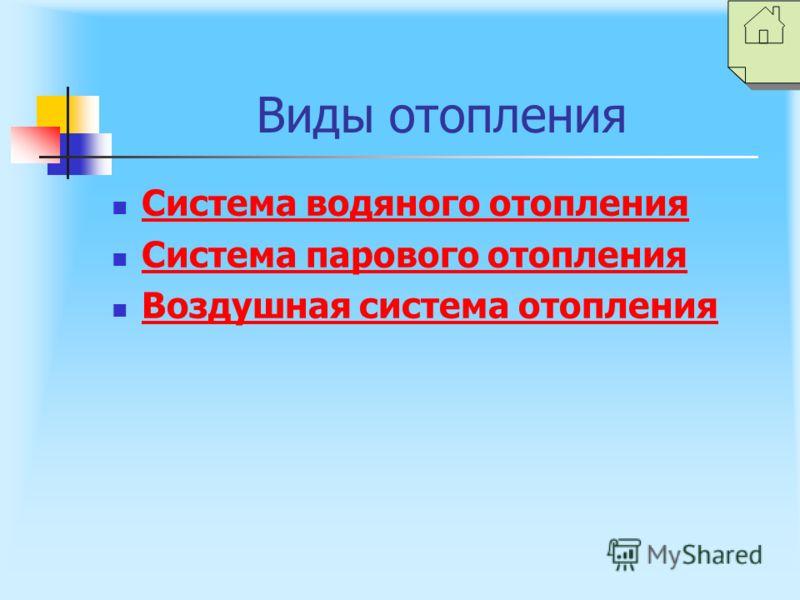 Виды отопления Система водяного отопления Система парового отопления Воздушная система отопления