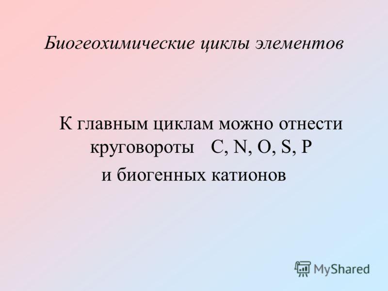 Биогеохимические циклы элементов К главным циклам можно отнести круговороты C, N, O, S, P и биогенных катионов