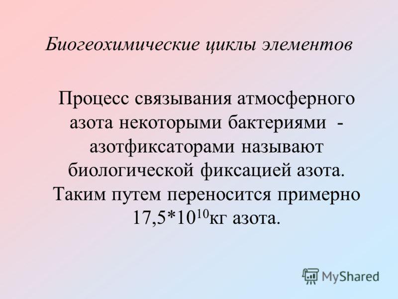 Биогеохимические циклы элементов Процесс связывания атмосферного азота некоторыми бактериями - азотфиксаторами называют биологической фиксацией азота. Таким путем переносится примерно 17,5*10 10 кг азота.