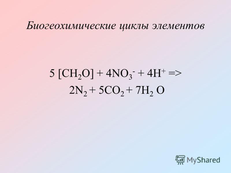 Биогеохимические циклы элементов 5 [CH 2 O] + 4NO 3 - + 4H + => 2N 2 + 5CO 2 + 7H 2 O