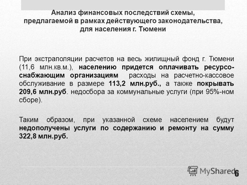 Анализ финансовых последствий схемы, предлагаемой в рамках действующего законодательства, для населения г. Тюмени При экстраполяции расчетов на весь жилищный фонд г. Тюмени (11,6 млн.кв.м.), населению придется оплачивать ресурсо- снабжающим организац