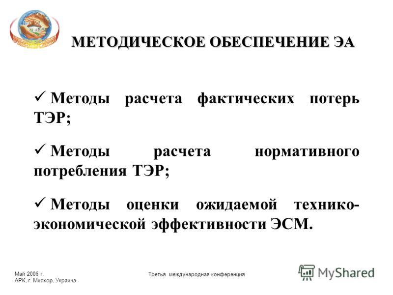 Май 2006 г. АРК, г. Мисхор, Украина Третья международная конференция МЕТОДИЧЕСКОЕ ОБЕСПЕЧЕНИЕ ЭА Методы расчета фактических потерь ТЭР; Методы расчета нормативного потребления ТЭР; Методы оценки ожидаемой технико- экономической эффективности ЭСМ.