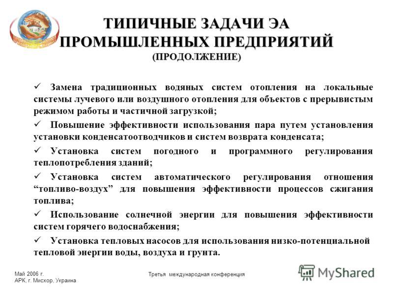 Май 2006 г. АРК, г. Мисхор, Украина Третья международная конференция ТИПИЧНЫЕ ЗАДАЧИ ЭА ПРОМЫШЛЕННЫХ ПРЕДПРИЯТИЙ (ПРОДОЛЖЕНИЕ) Замена традиционных водяных систем отопления на локальные системы лучевого или воздушного отопления для объектов с прерывис
