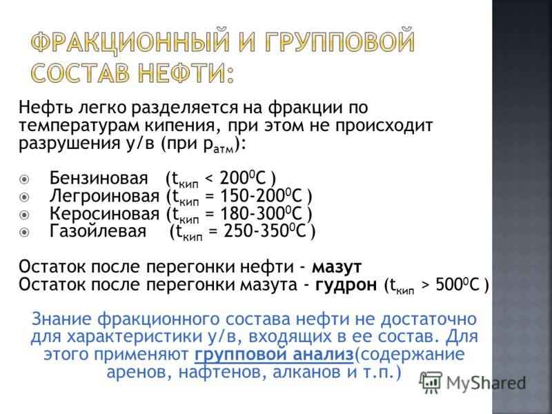 Нефть легко разделяется на фракции по температурам кипения, при этом не происходит разрушения у/в (при р атм ): Бензиновая (t кип < 200 0 C ) Легроиновая (t кип = 150-200 0 C ) Керосиновая (t кип = 180-300 0 C ) Газойлевая (t кип = 250-350 0 C ) Оста
