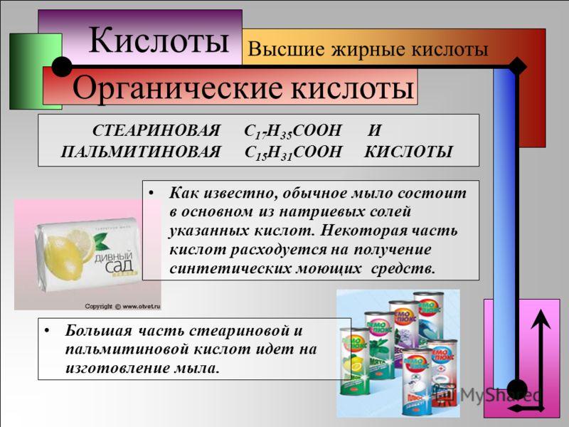Кислоты Органические кислоты Высшие жирные кислоты Большая часть стеариновой и пальмитиновой кислот идет на изготовление мыла. Как известно, обычное мыло состоит в основном из натриевых солей указанных кислот. Некоторая часть кислот расходуется на по